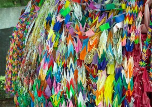 Paper cranes, folded as prayers for peace. Peace Park, Hiroshima, Japan. (Fg2)