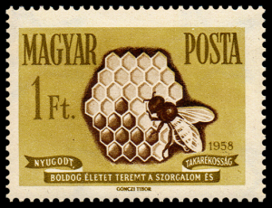 Hungarian postage stamp issued to publicize the value of savings and insurance