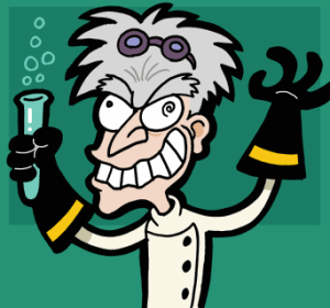Caricature of a mad scientist drawn by J.J.