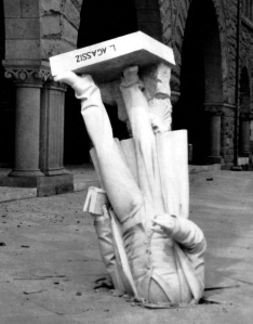 The Agassiz statue, Stanford University, California toppled by San Francisco earthquake, April 1906